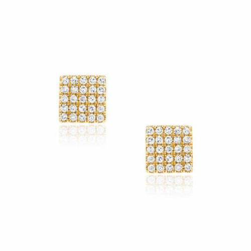 Pave Diamond Square Stud Earrings