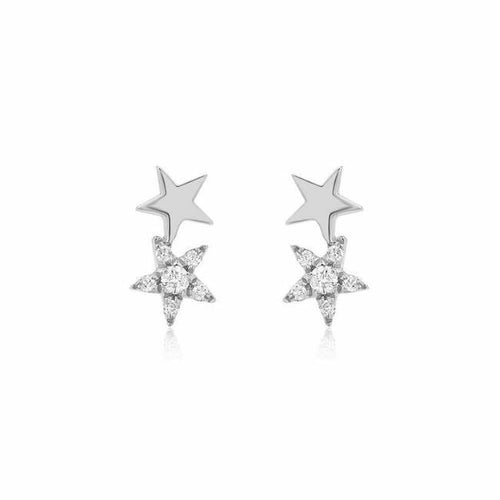 Double Star Pave Diamond Stud Earrings