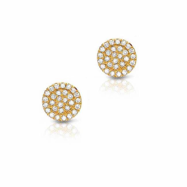 6.5mm Pave Diamond Coin Stud Earrings