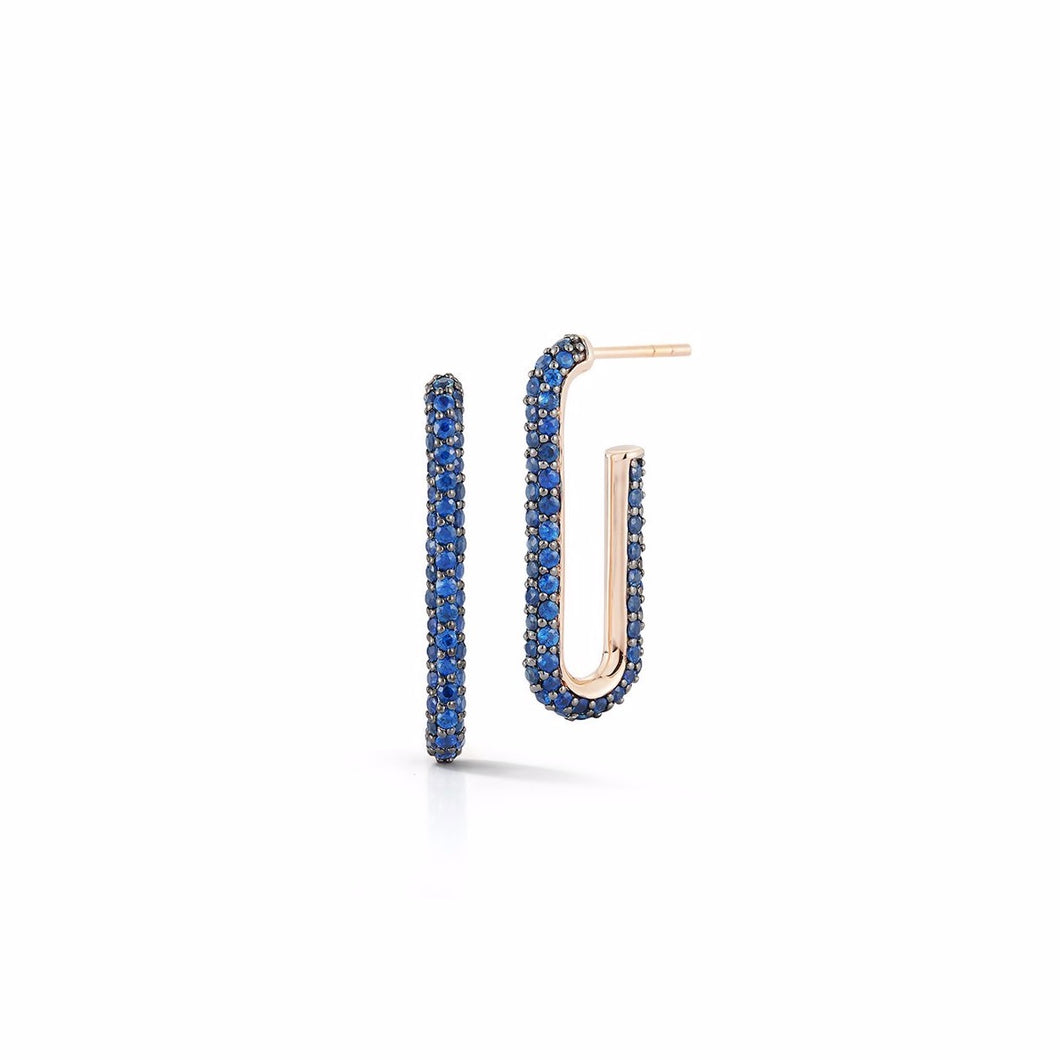 Saxon Blue Sapphire Elongated Chain Link Earrings