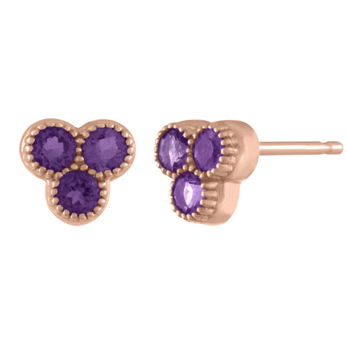 Sam Tiny Gemstone Trio Studs