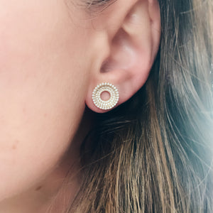 Drew Pave Diamond Concentric Circles Earrings