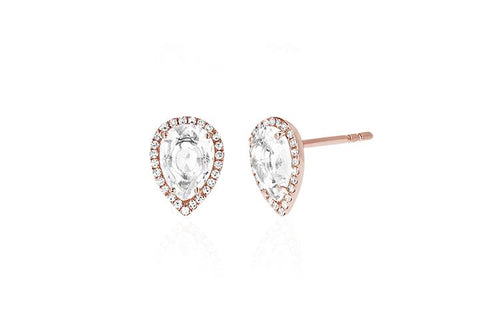 Diamond White Topaz Teardrop Stud Earrings