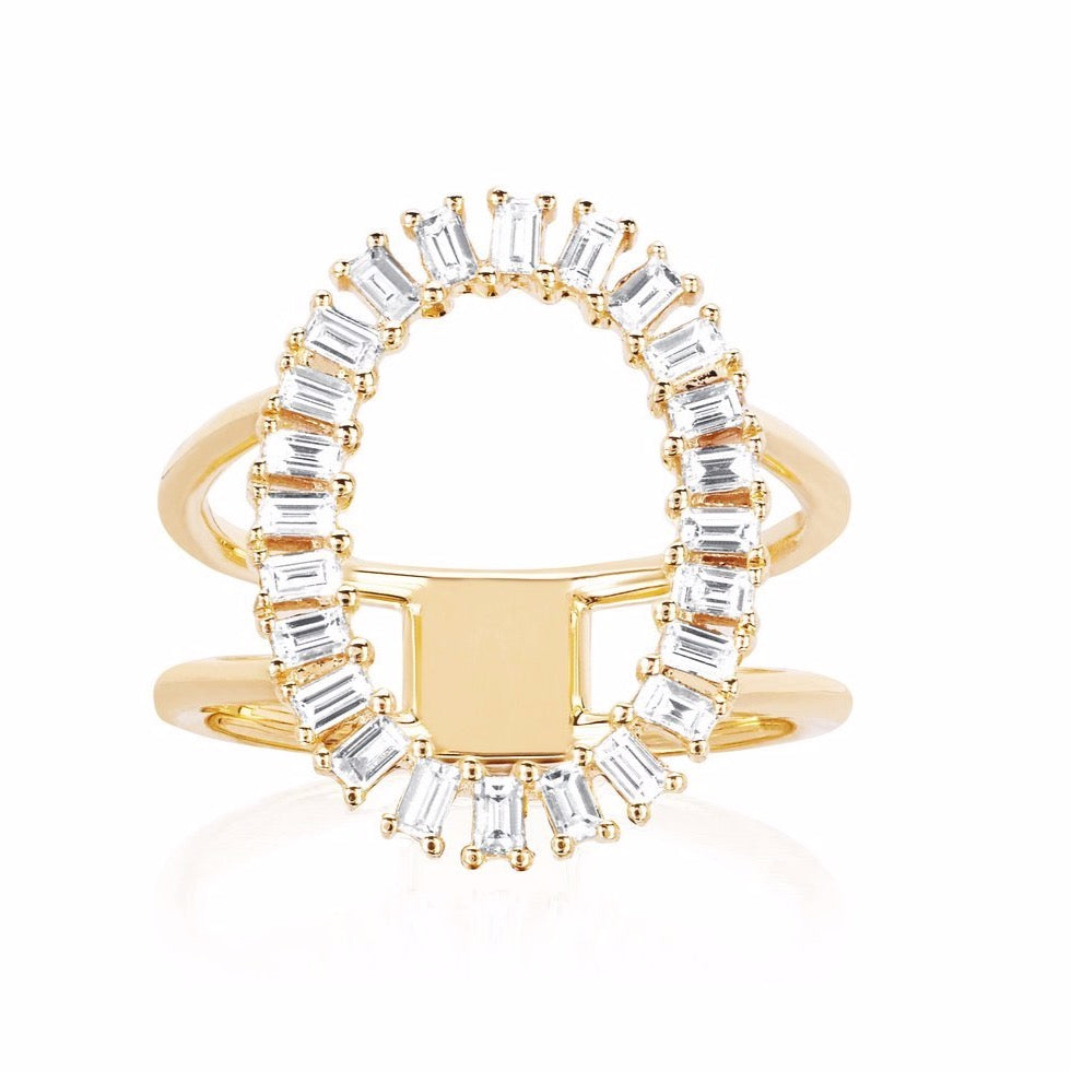 Diamond Baguette Open Oval Ring