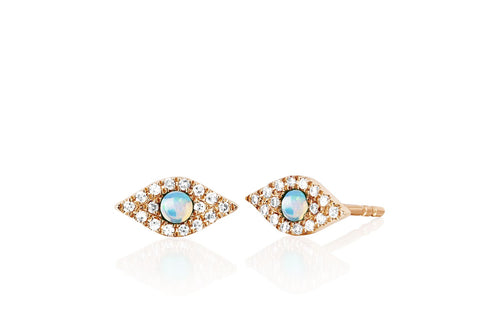 Diamond & Gemstone Evil Eye Stud Earring