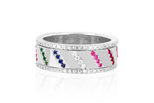 Diamond & Gemstone Slash Spinning Ring