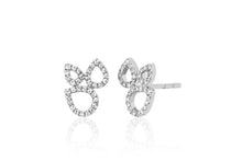 Diamond Open Teardrop Cluster Stud Earrings