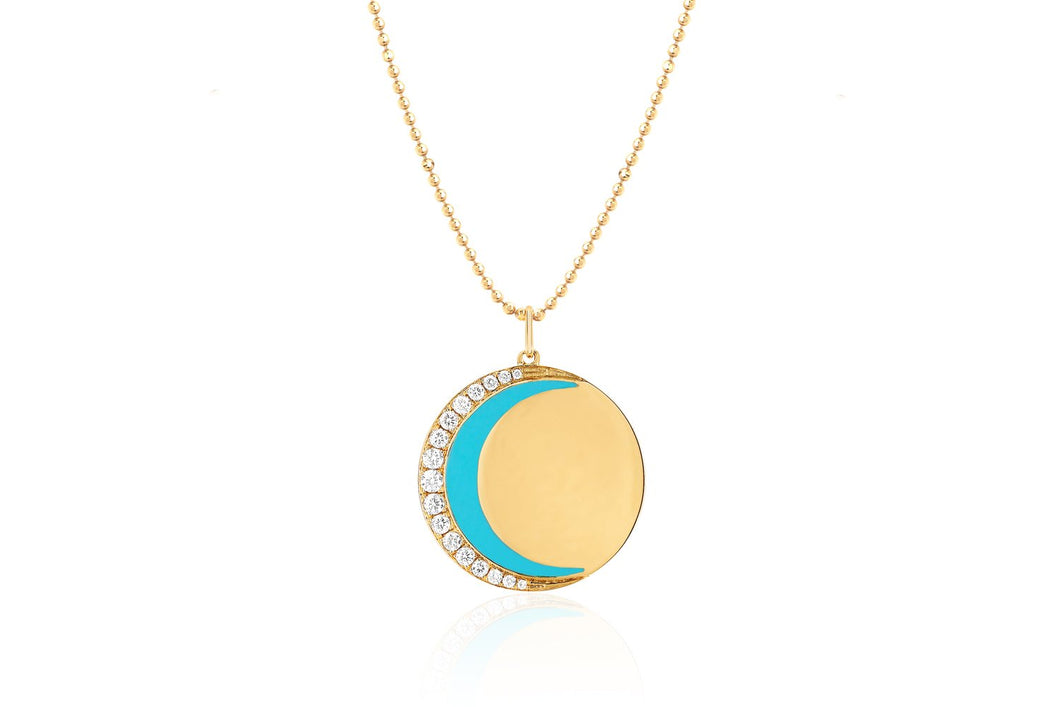 Diamond & Enamel Crescent Moon Necklace