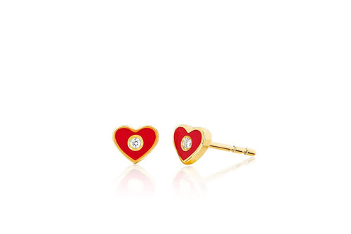 Diamond Enamel Heart Stud Earring