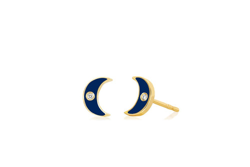 Diamond Enamel Moon Stud Earring