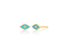 Diamond Enamel Evil Eye Stud Earring