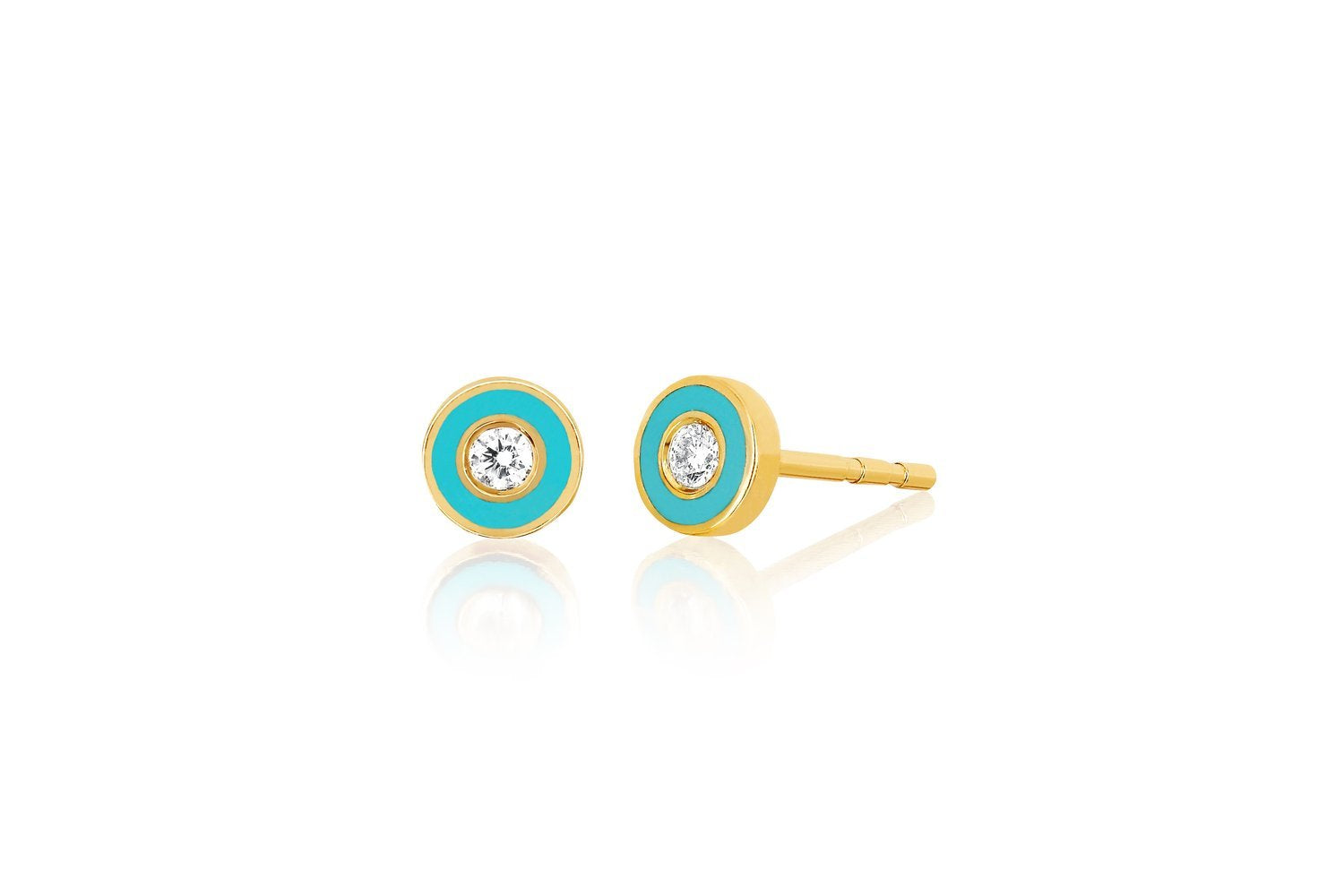 Diamond Enamel Bezel Stud Earring
