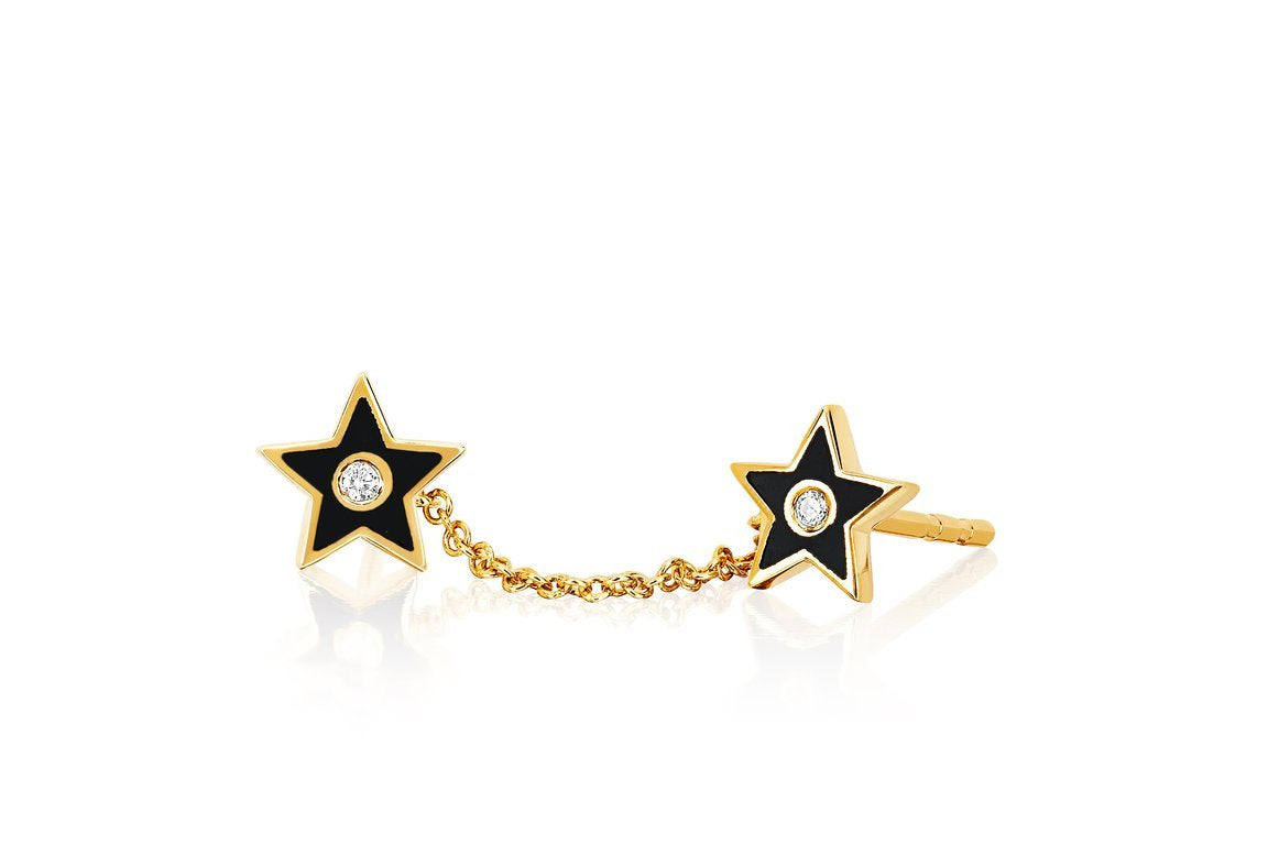 Diamond Enamel Double Star Chain Stud Earring