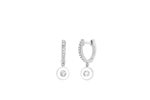 Diamond Huggie with Enamel Bezel Drop Earring