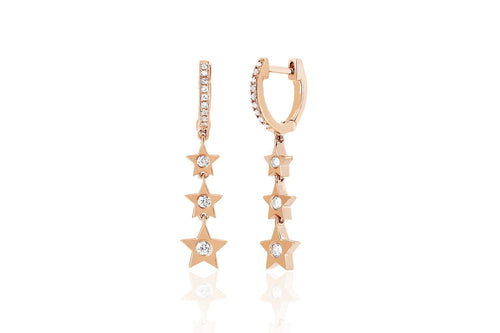 Diamond Huggie with Three Diamond Star Drop Earrings