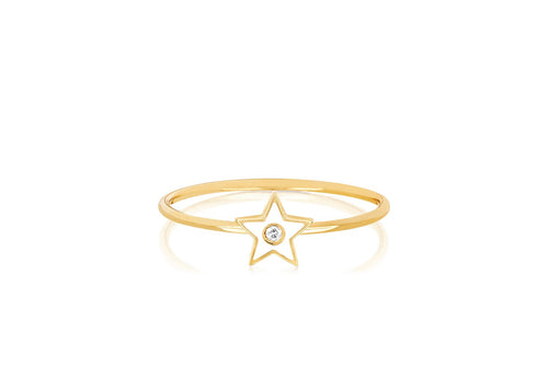 Diamond Enamel Star Ring