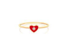 Diamond Enamel Heart Stack Ring