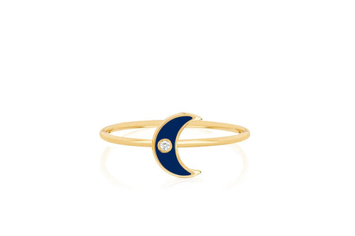 Diamond Enamel Moon Ring