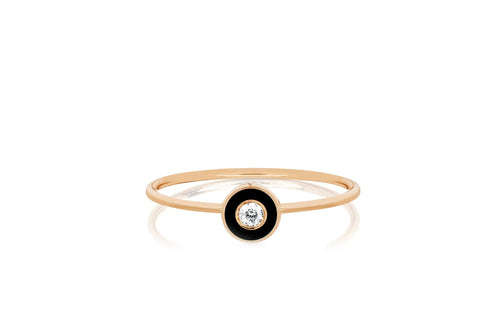 Diamond Enamel Bezel Stack Ring