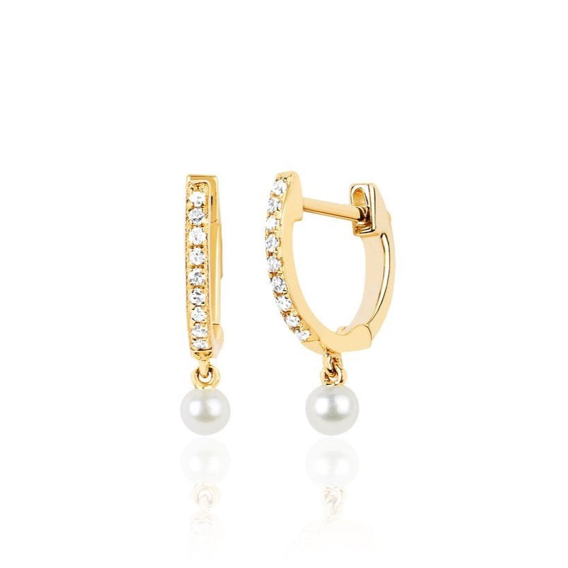 Diamond Mini Huggie With Pearl Drop Earring