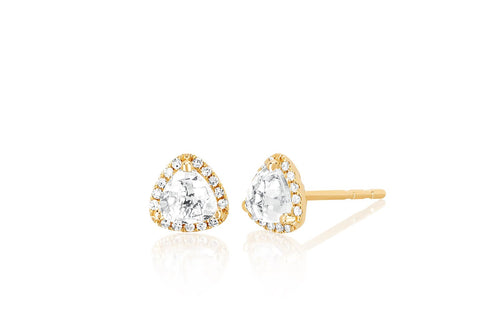 Diamond & White Topaz Trillion Cut Stud Earrings