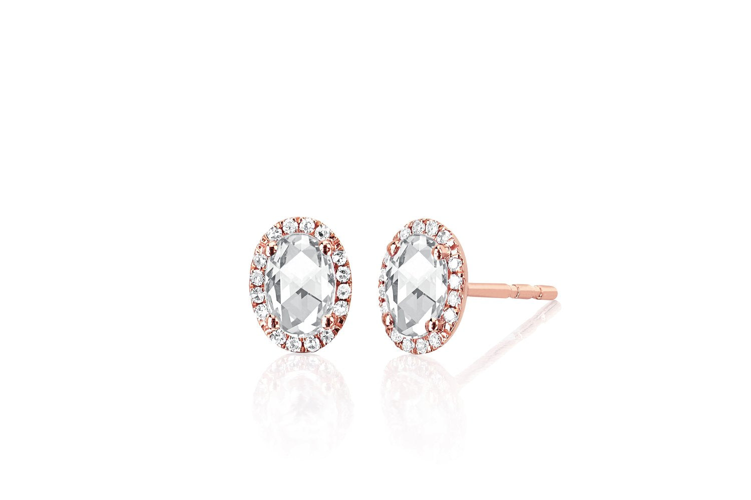 Diamond & White Topaz Oval Cut Stud Earrings