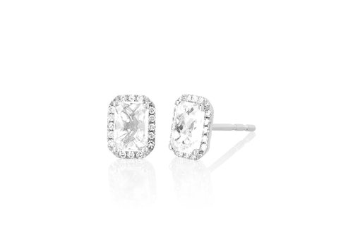 Diamond & White Topaz Emerald Cut Stud Earrings