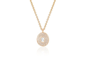 Diamond & White Quartz Center Oval Necklace