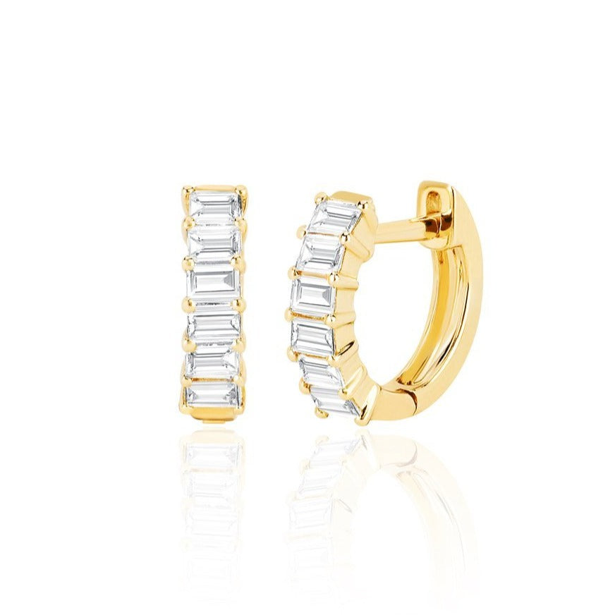 Prong Set Diamond Baguette Huggie Earrings