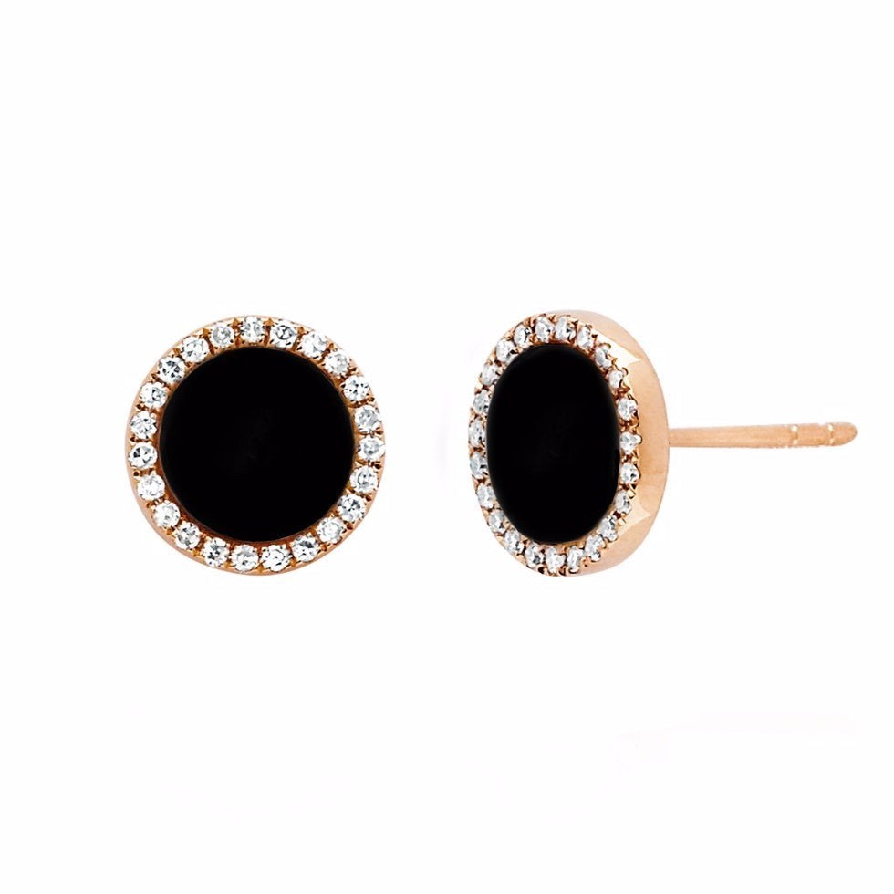 diamond & enamel disc stud earrings