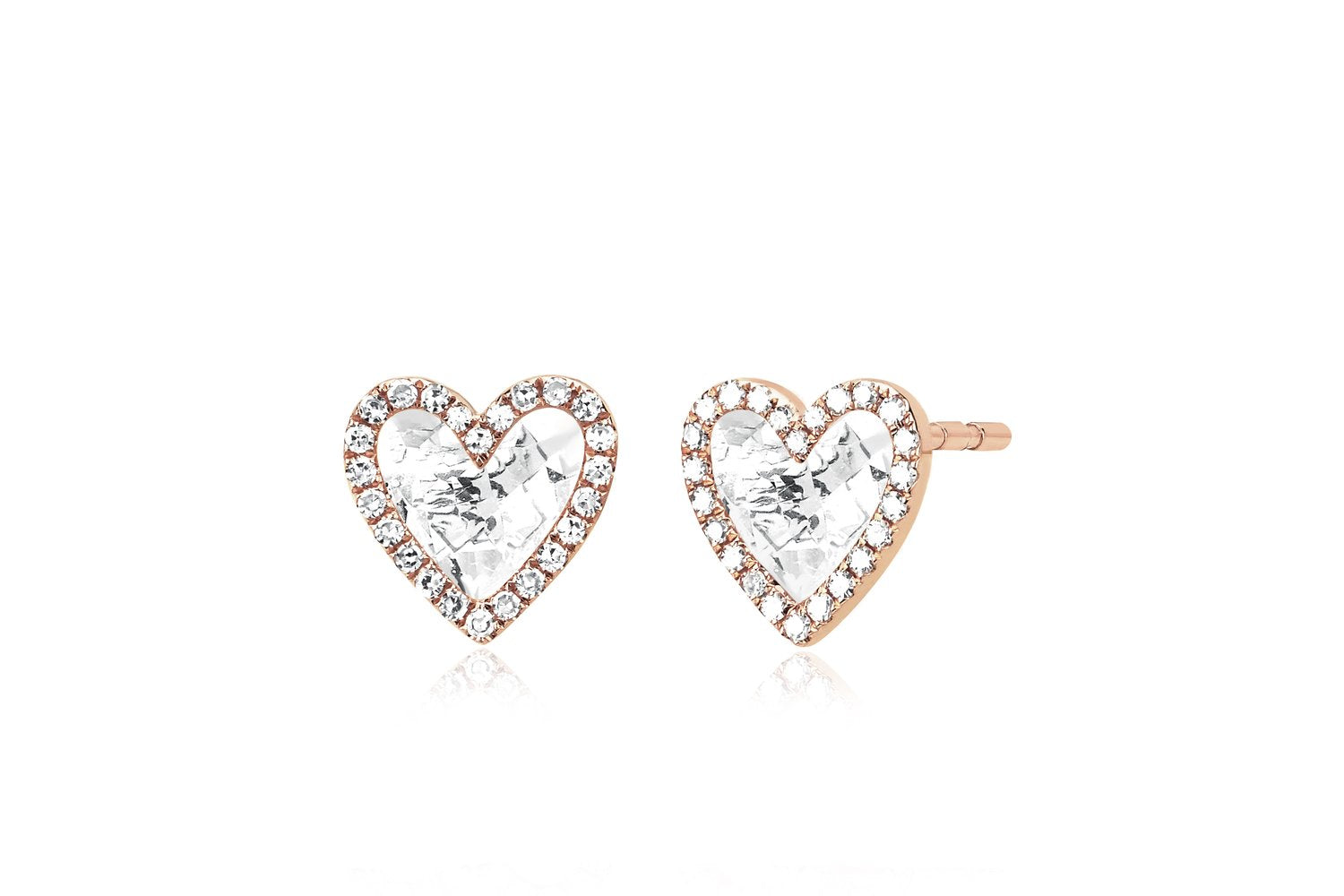 Diamond & White Topaz Heart Stud Earrings