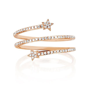 Double Star Diamond Twist Ring