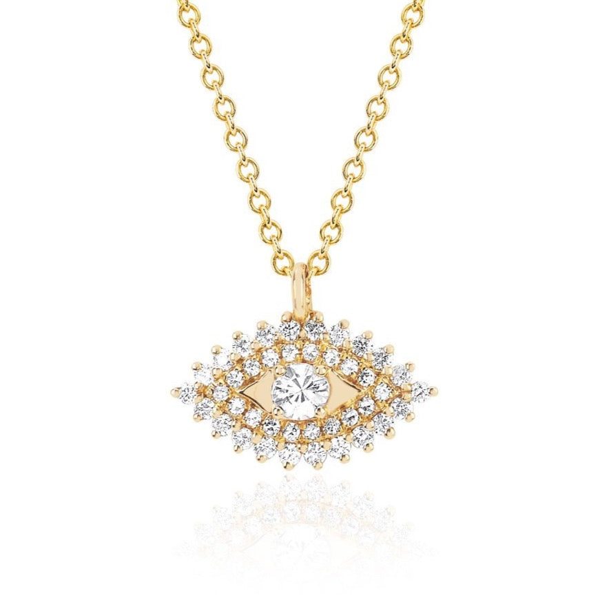 Prong Set Diamond Evil Eye Necklace