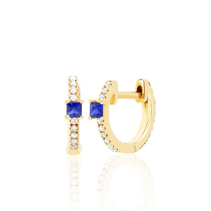 Gemstone Princess & Diamond Mini Huggie Earring