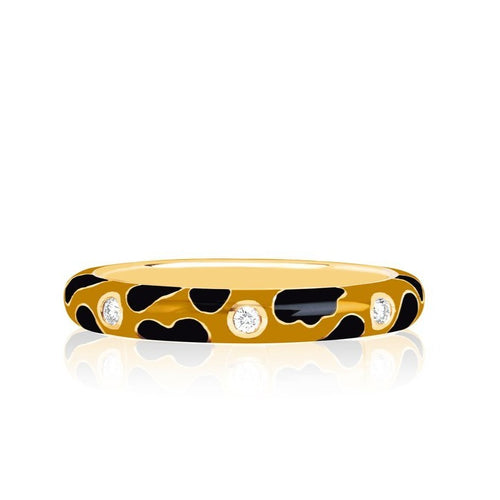 3 Diamond Leopard Enamel Ring