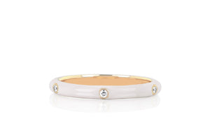 3 Diamond Enamel Stack Ring