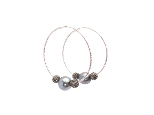 Tahitian Pearl with Diamond Balls Hoops