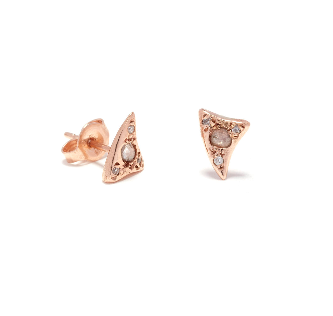 Diamond Baby Shark Tooth Studs