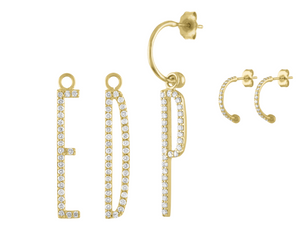 Elongated Diamond Initial Earring