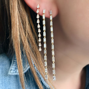 Long Diamond Cascade Teardrop Earrings