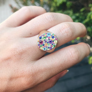Multi Colored Rainbow Signet Ring