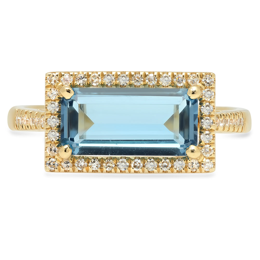 One of a Kind Emerald Cut London Blue Topaz Ring