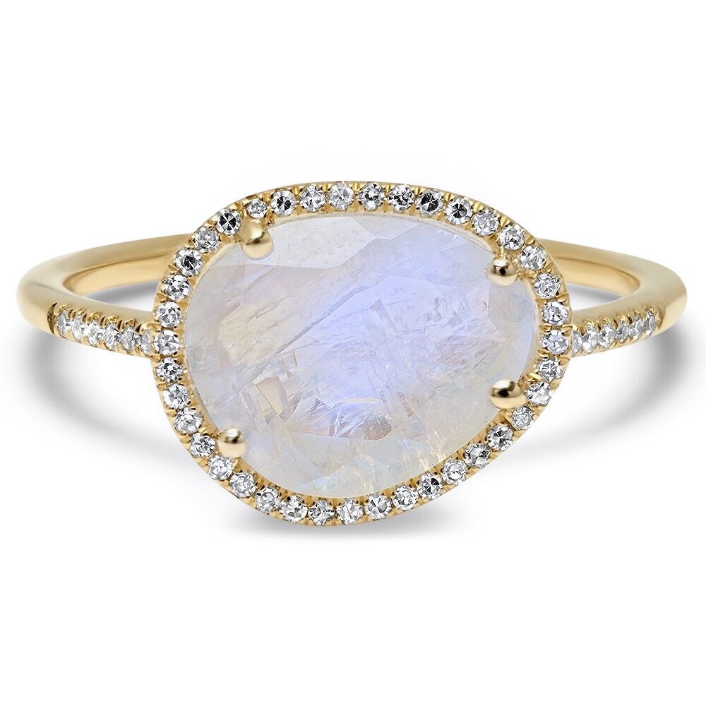 Essential Moonstone with Diamond Halo Ring