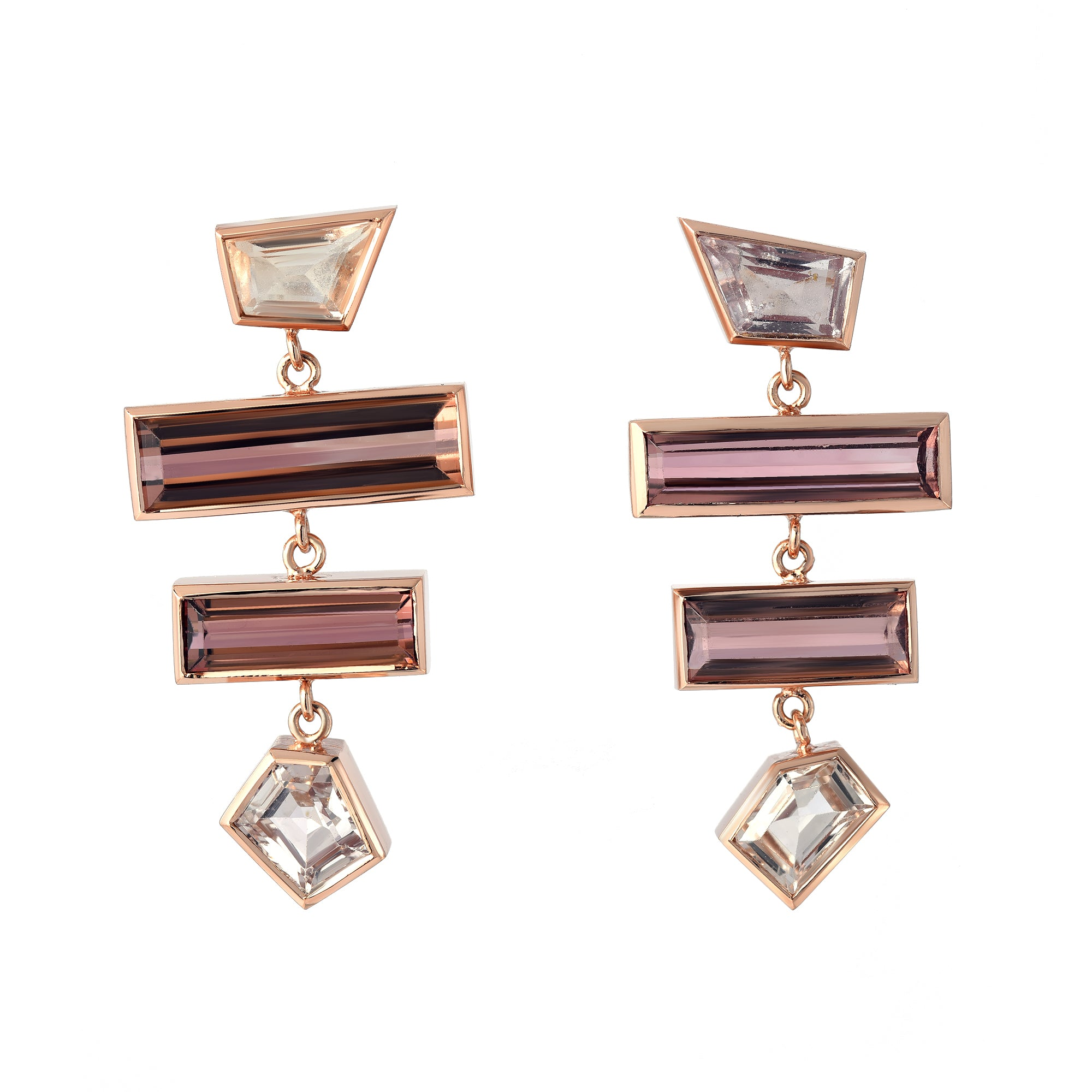 Grande Interlock Sapphire and Tourmaline Earrings