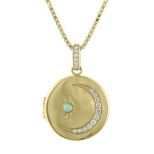 Serenity Diamond Moon & Opal Star Locket