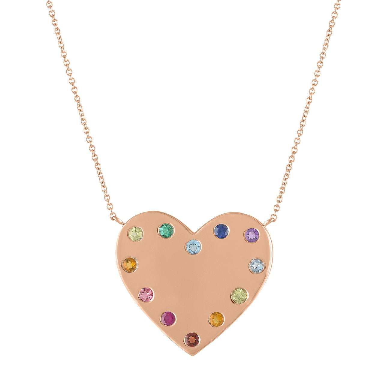 Mimi Rainbow Initial Heart Necklace