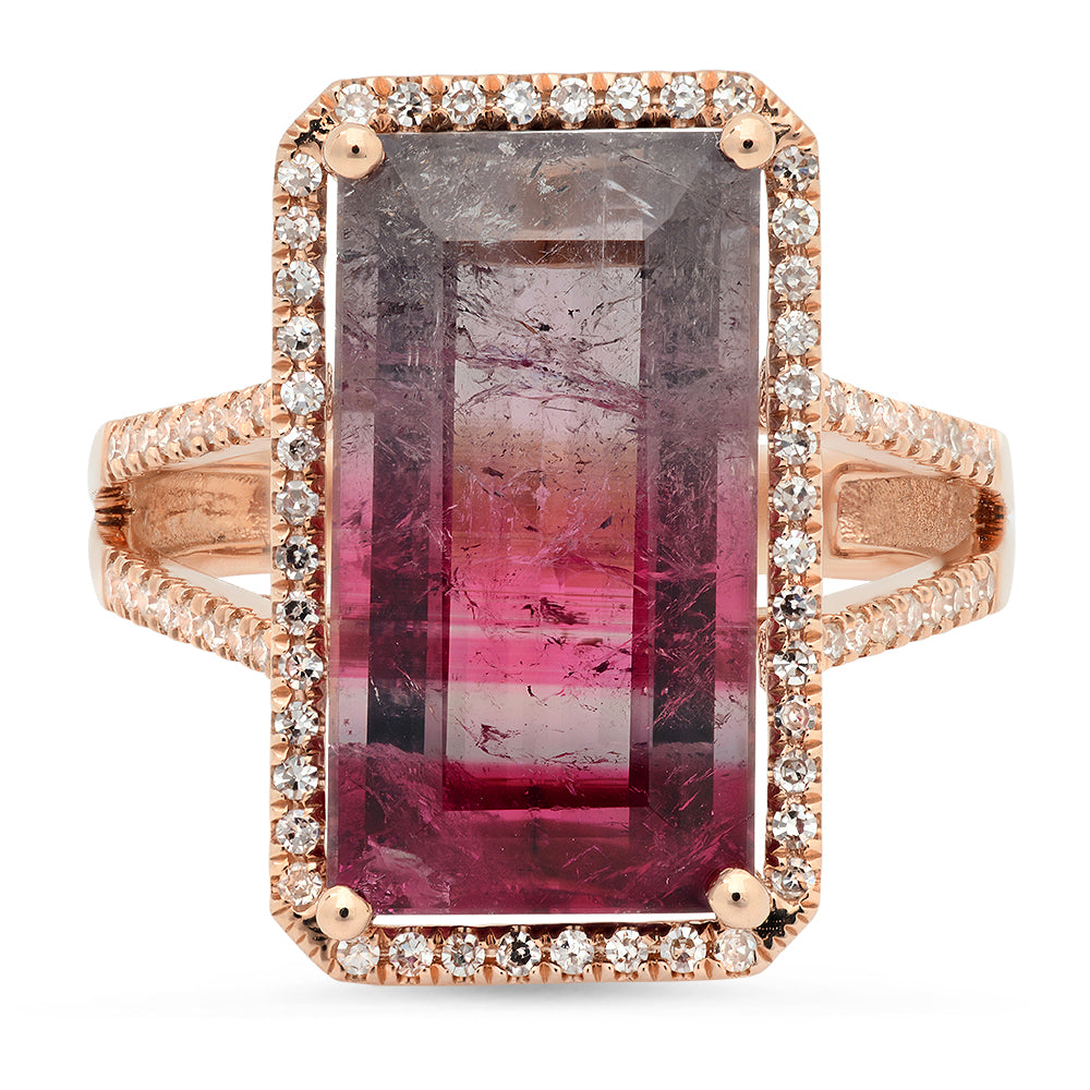 One of a Kind Tourmaline & Diamond Ring