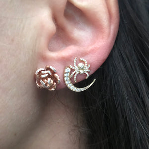 mini diamond spider stud earrings