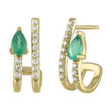 Janet Diamond & Semi Precious Pear Shaped Illusion Double Pierce Stud