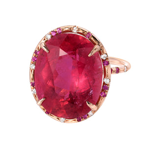 One of a Kind Hot Pink Sapphire Coctail Ring